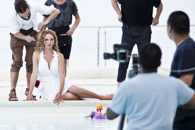 "Campari Calendar 2014 ""Worldwide Celebration"". Star: Uma Thurman. Photographer: Koto Bolofo. Behind the scenes images by Francesco Pizzo."