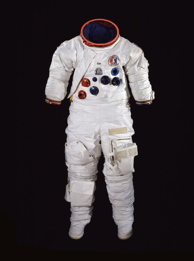 Astronaut Alan Bean wore this A7-LB suit on the 1973 Skylab 3 mission. Bean logged 1,671 hours and 45 minutes in space, including more than 10 hours of EVA (extra vehicular activity). Suited for Space will be on view at the museum in Washington, DC from July 26 - December 1, 2013. Image Number: WEB13029-2013 (Photo Credit: Photo by Mark Avino, Smithsonian Institution)