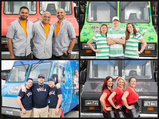 The Great Food Truck Race Teams (Left - Right starting at the top):  Tikka Tikka Taco , Murphy's Spud Truck, Philly's Finest Sambonis, and Bowled and Beautiful