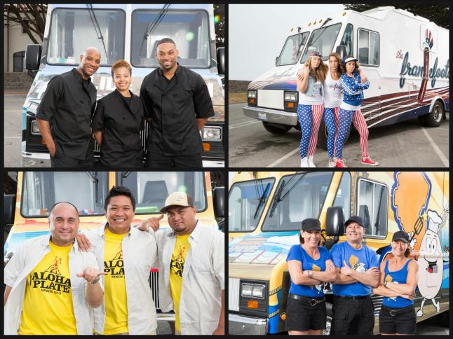 The Great Food Truck Teams (Left - Right starting at the top left): The Slide Show,  Frankfootas (New York), Aloha Plate (Los Angeles, Maui and Oahu, Hawaii), and Boardwalk Breakfast Empire.