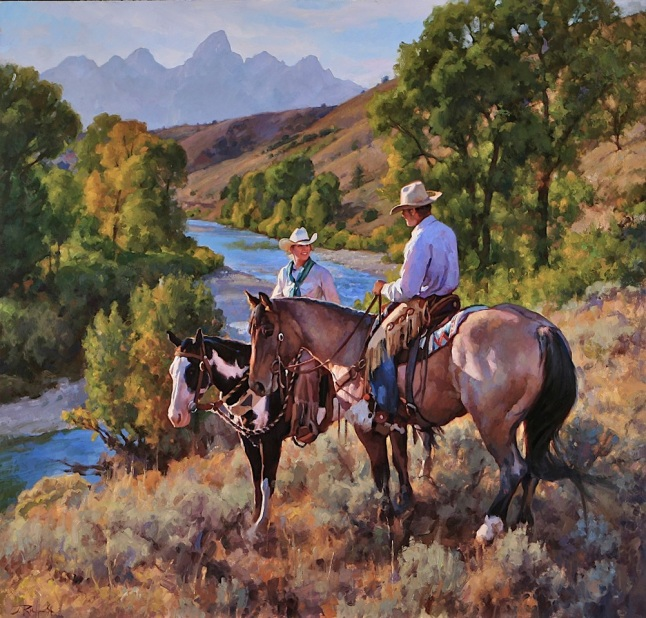 2013 Fall Arts Festival poster image - 'River Overlook - Gros Ventre River Ranch' 48x50 oil by Jason Rich
