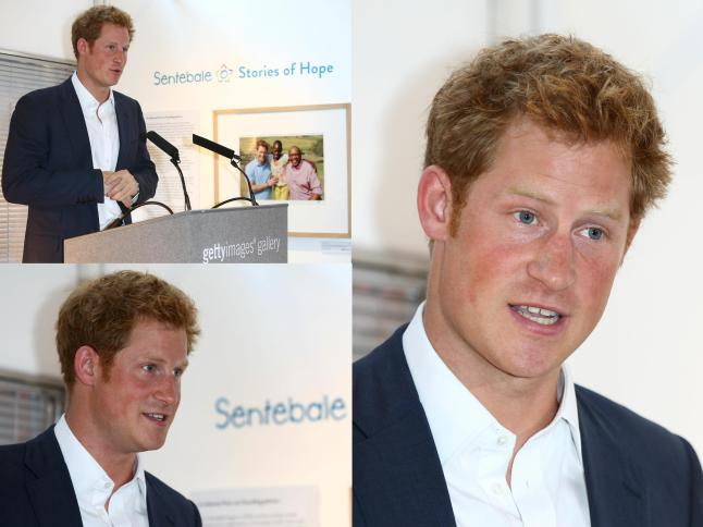 Britain's Prince Harry at the private view of 'Sentebale - Stories Of Hope' at Getty Images Gallery on July 25, 2013 in London, England.