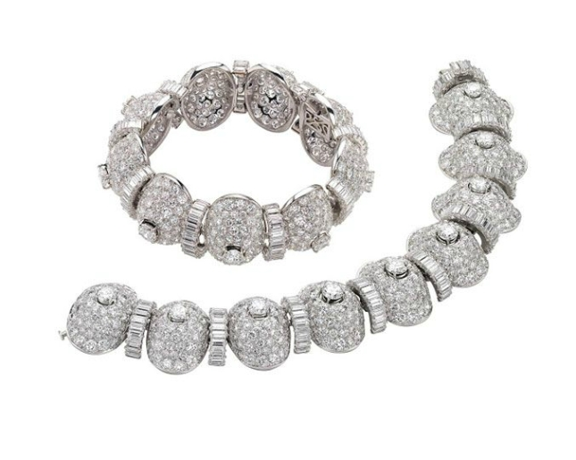 Bulgari. Bracelets, 1955 and 1959 – Platinum with diamonds. Courtesy of de Young Museum