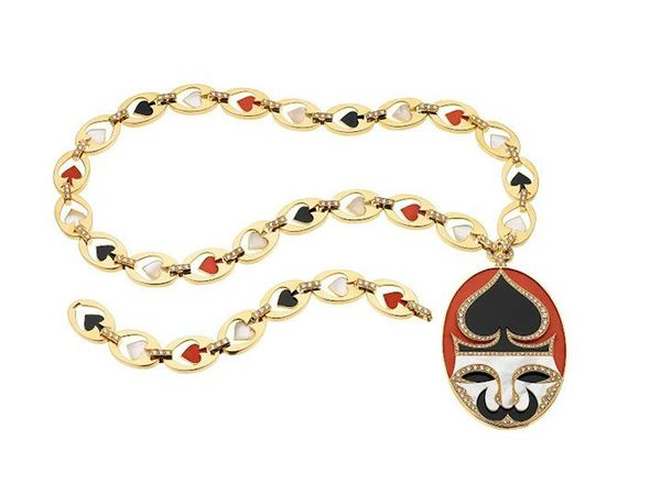 Bulgari. 'Playing Card' sautoir, 1972 – Gold with coral, mother-of-pearl, onyx and diamonds. Courtesy of de Young Museum