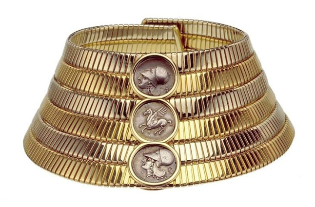Bulgari. 'Tubogas' choker, 1974 – Two-color gold with Greek silver coins. Courtesy of de Young Museum