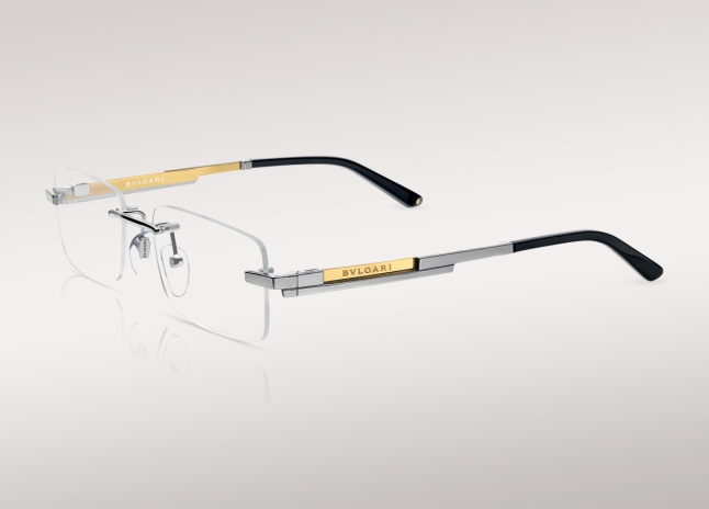 Bulgari Le Gemme (Zephyr Optical Glasant Frame in Silver Titanium with 18kt Yellow Gold Plaque