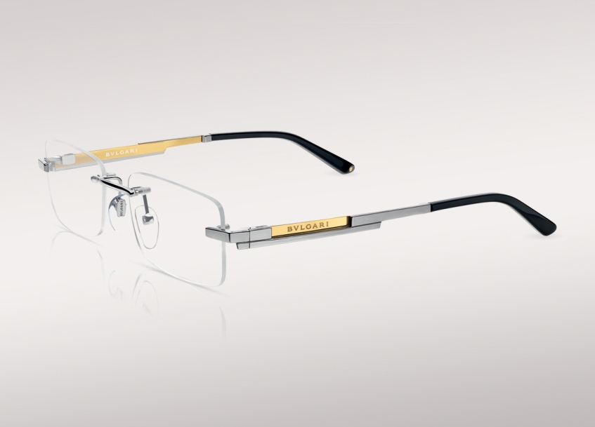 6731ce702d Bulgari Le Gemme (Zephyr Optical Glasant Frame in Silver Titanium with 18kt  Yellow Gold Plaque