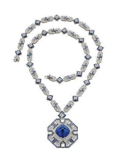 Bulgari. Sautoir, 1969 – Platinum with sapphires and diamonds. Courtesy of de Young Museum