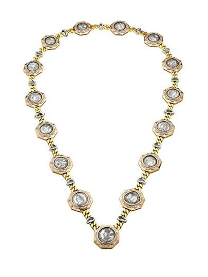 Bulgari. Sautoir, ca. 1973 – Three-color gold with British silver coins and diamonds. Courtesy of de Young Museum