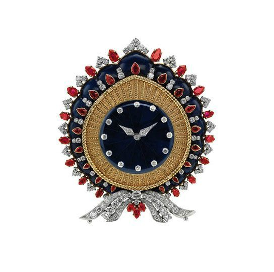 Bulgari. Table clock, 1968 – Gold and platinum with lapis lazuli, rubies and diamonds. Courtesy of de Young Museum