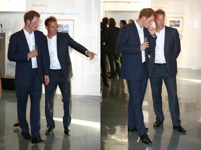 Prince Harry and Chris Jackson at the 'Sentebale - Stories Of Hope' at Getty Images Gallery on July 25, 2013 in London, England