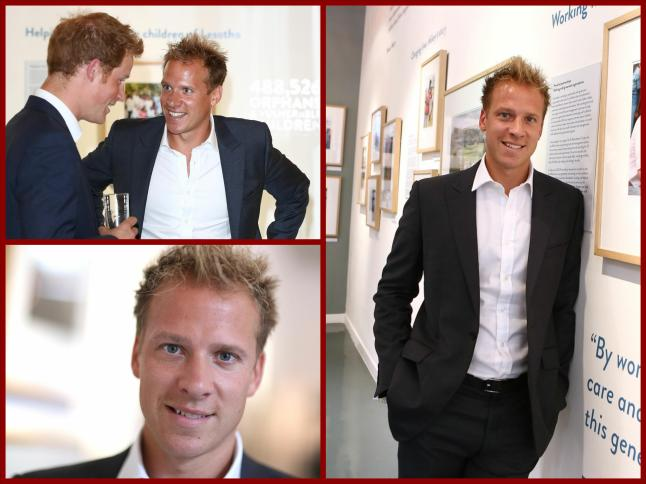 Royal Photographer Chris Jackson and Britain's Prince Harry at the private view of 'Sentebale - Stories Of Hope' at Getty Images Gallery on July 25, 2013 in London, England.