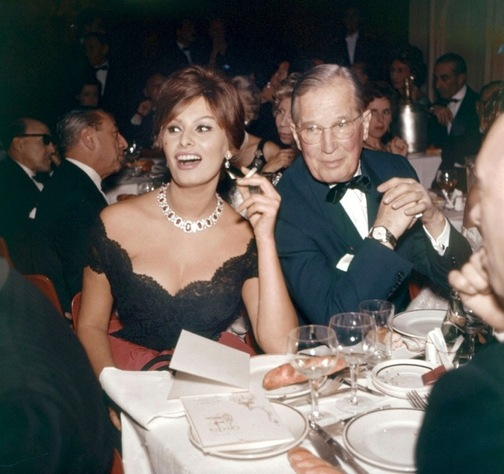 Sophia Loren with Maurice Chevalier wearing Bvlgari