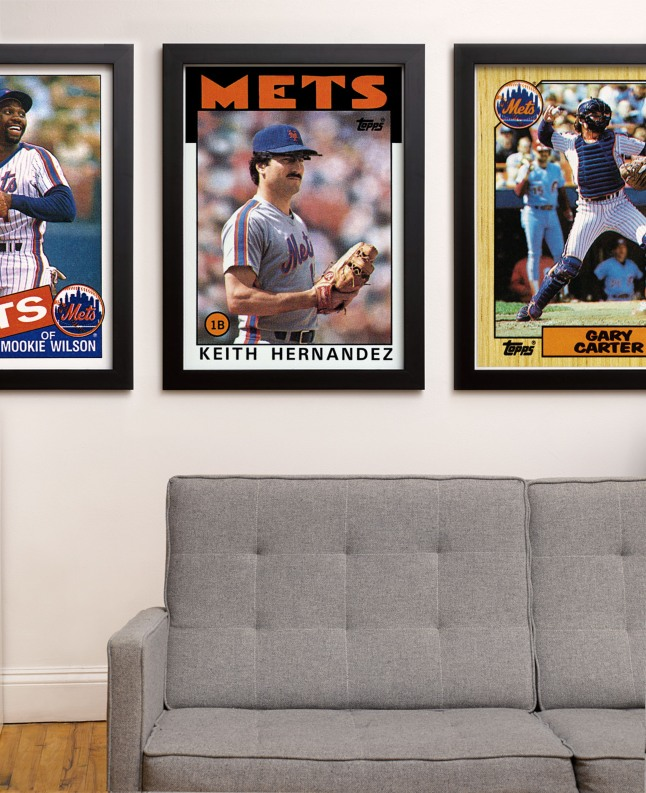 The Topps Company unveiled Archive Prints, a collection of vintage art prints featuring digitally-remastered original Major League Baseball card artwork. For the first time ever, baseball fans can hang their favorite childhood baseball heroes, in the iconic Topps baseball card design, on the walls of their sports room, man cave, or office. Topps' first foray into the home decor market will feature more than 1,000 original Archive Prints of the biggest names in Major League Baseball from the 1970s, 1980s, and 1990s. (PRNewsFoto/The Topps Company)