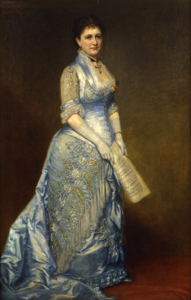 George Peter Alexander Healy (American, 1813 –1894), Emma Cecilia Thursby (1845-1931), 1879. Oil on canvas,  Overall: 68 x 43 in. ( 172.7 x 109.2 cm )frame: 93 x 64 in. ( 236.2 x 162.6 cm ), Gift of the Estate of Ina Love Thursby
