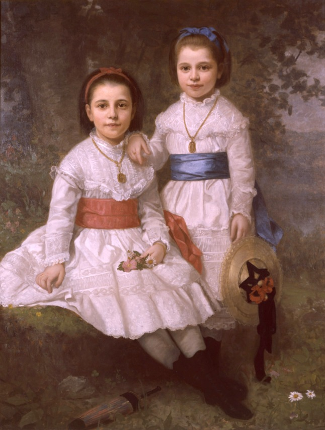 Henry Augustus Loop (American, 1831 –1895), Fannie Fredericka Dyckman and Mary Alice Dyckman, 1876. Oil on canvas,  Overall: 52 1/4 x 40 1/4 in. ( 132.7 x 102.2 cm )frame: 72 x 59 in. ( 182.9 x 149.9 cm ), Bequest of Fannie Fredericka Dyckman