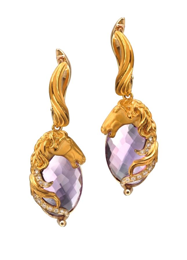 Carrera y Carrera Ecuestre earrings in yellow gold, amethyst and diamonds