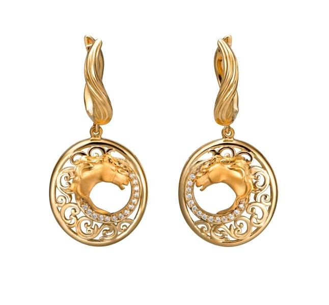 Carrera y Carrera Ecuestre earrings in yellow gold and diamonds