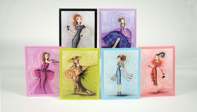 Bella Pilar's Glamour Collection, a special edition series of six cards inspired by classic fashion icons of the past and embellished with shimmering glitter highlights and jewel accents. (PRNewsFoto/Papyrus)