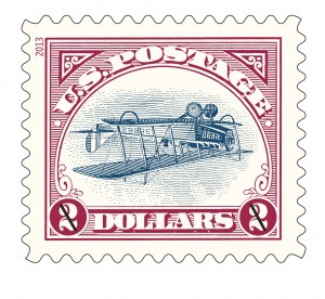 The 2013 $2 version of the most publicized stamp error in U.S. history today — the 24-CENT 1918 CURTISS JENNY INVERTED airmail stamp.