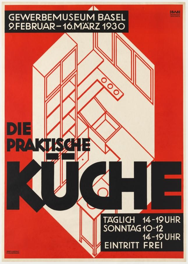 Helene Haasbauer-Wallrath (Swiss, 1885–1968). Die Praktische Küche (The practical kitchen). 1930. Lithograph, 35 1/2 x 50″ (90.2 x 127 cm). Printer: W. Wasserman, Basel.  Gift of Jim Lapides and the Architecture & Design Purchase Fund
