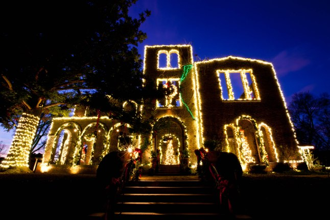 Holiday lights outline The Ruins at Barnsley Resort. (Jessica Rayborn Photography)