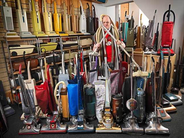 James Brown - Largest Collection Of Vacuum Cleaners. Photographer: Ranald Mackechnie/Guinness World Records