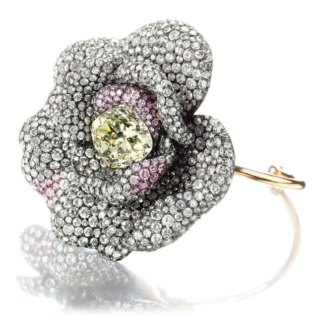 JAR diamond camellia flowerhead bangle bracelet • Sold at Christie's in May 2012 for $624,792