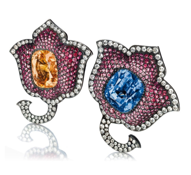 JAR sapphire, ruby, and diamond Moghul tulip ear clips • Sold for $275,168 at Christie's in May 2012