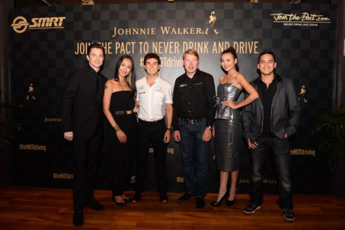Johnnie Walker Join the Pact ambassadors - from left - Olli Pettigrew, Rosalyn Lee, Sergio Perez, Mika Hakkinen, Thanh Hang and Mario Lawalata
