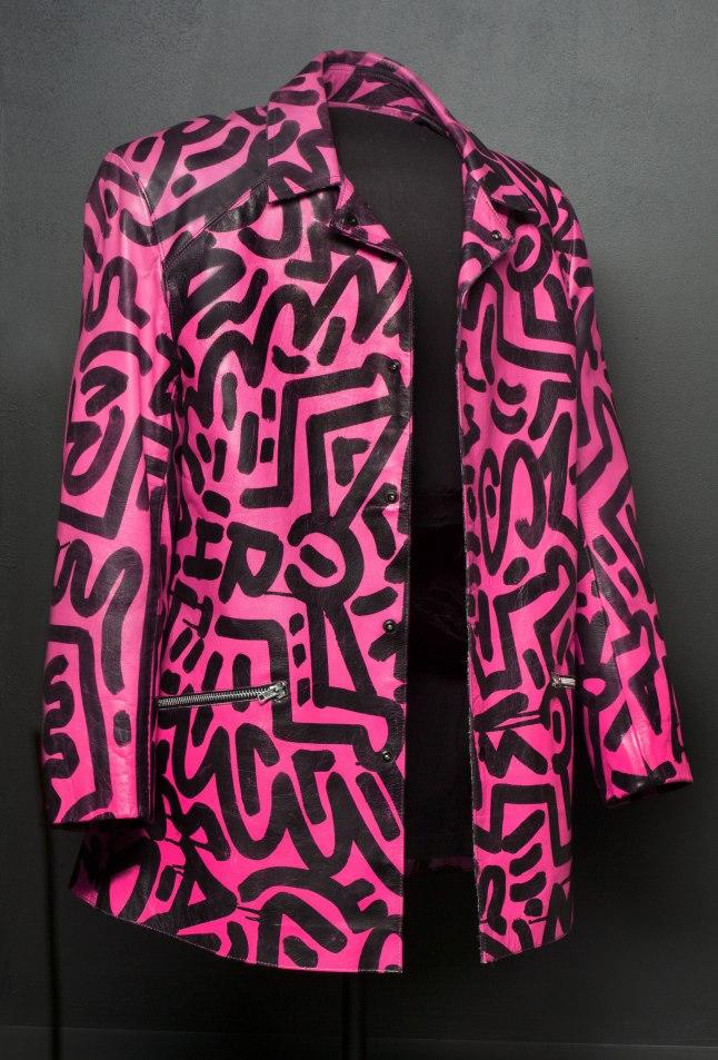 "Keith Haring and LA II (""Little"" Angel Ortiz, b. 1967), Painted leather jacket, 1983, Keith Haring artwork © Keith Haring Foundation Angel Ortiz (LA II) artwork © Angel Ortiz"