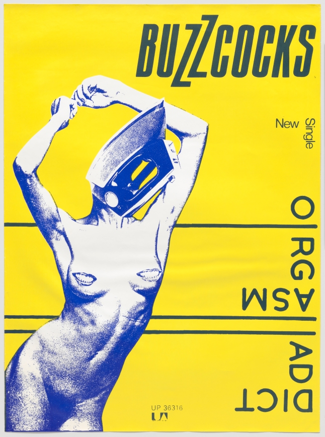 """Linder [Linder Sterling] (British, born 1954). Buzzcocks, Orgasm Addict. 1977. Lithograph, 39″ x 28 ¾"""" (99.1 x 73 cm). The Museum of Modern Art, New York. Gift of Lawrence Benenson. Image courtesy of the artist"""