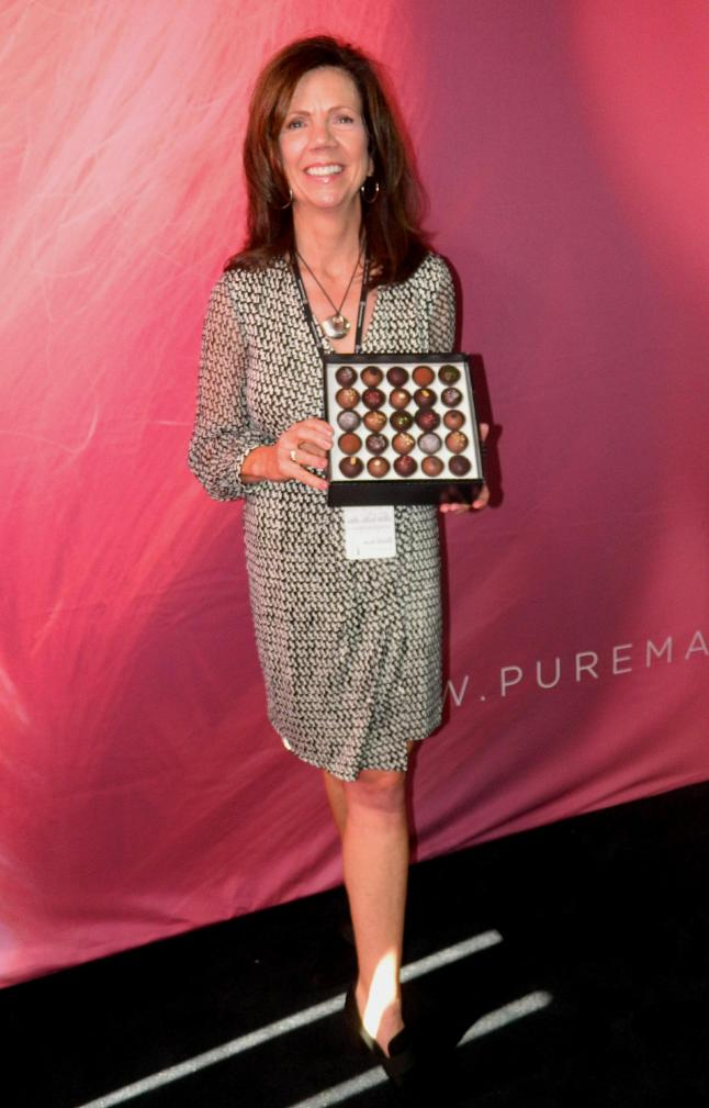 Lynn Gonsior, President of Pure Madness Chocolate at Mercedes-Benz New York Fashion Week (Credit - Phillip D. Johnson)