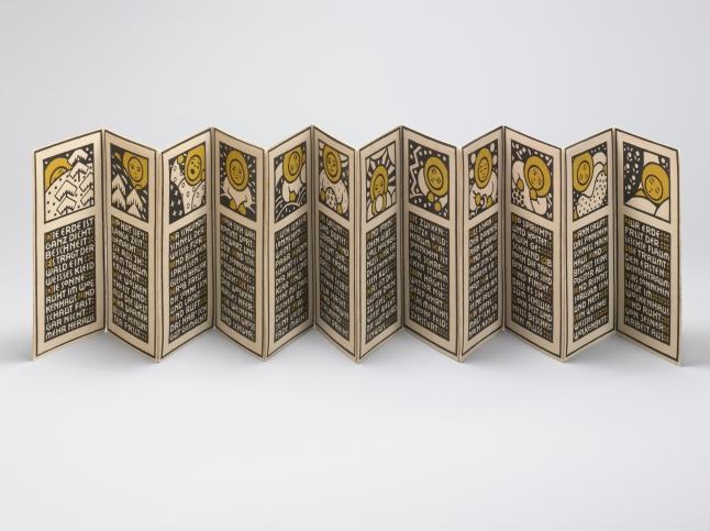 Magda Mautner von Markhof (Austrian, 1881-1944). Kalenderbilderbuch (Calendar Picture Book). 1905. Woodcut, 4 x 9 1/4 x 1/2″ (10.2 x 23.5 x 1.3 cm). The Museum of Modern Art, New York. Gift of Jo Carole and Ronald S. Lauder