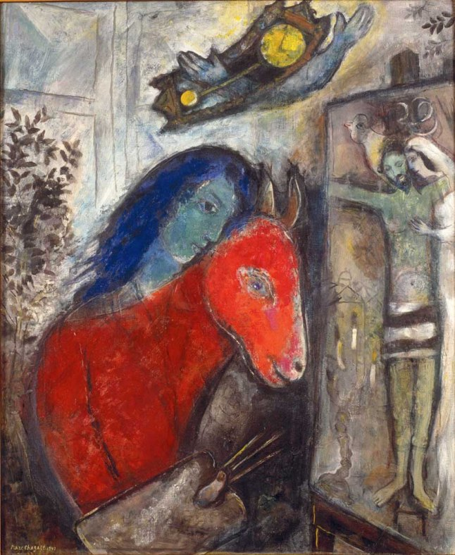 "Marc Chagall, ""Self-Portrait with Clock"", 1947, oil on canvas, private collection. ©2013 Artists Rights Society (ARS), New York / ADAGP, Paris"