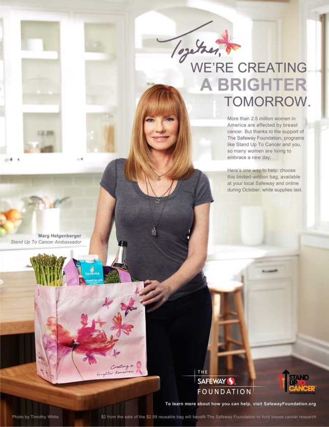 Marg Helgenberger in the new PSA with The Safeway Foundation and Stand Up To Cancer (SU2C).  (PRNewsFoto/Entertainment Industry Foundation)