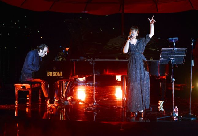 Lily Allen and Jose Chilly Gonzales perfoms as  MARTINI© CELEBRATES 150 YEARS OF ITALIAN STYLE AT GLITTERING ANNIVERSARY GALA IN LAKE COMO, ITALY