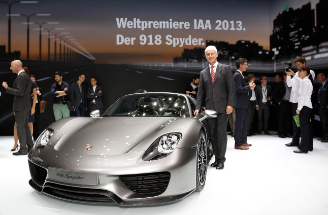 Matthias Müller, Chairman of the Board of Management of Porsche AG, presents the 918 Spyder at the Volkswagen Group Night on the penultimate evening of IAA 2013