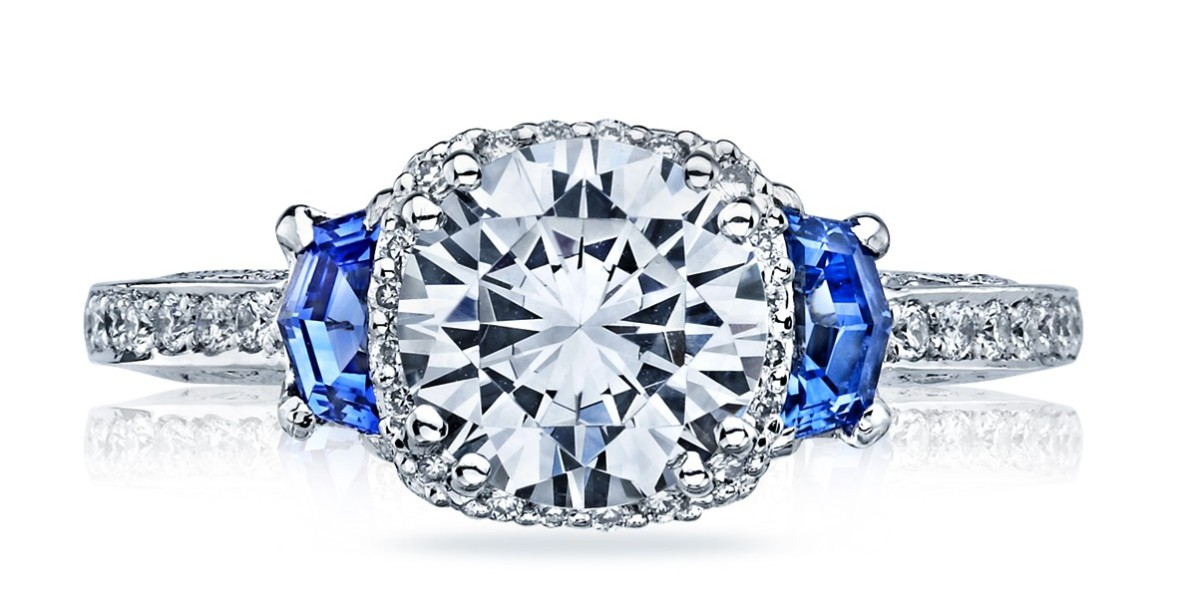 Tacori Platinum Diamond and Sapphire Engagement Ring
