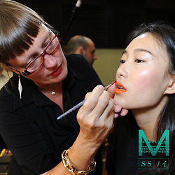 Maybelline Makeup artist Charlotte Willer at work during the recent Spring/Summer RTW 2014 New York Fashion Week