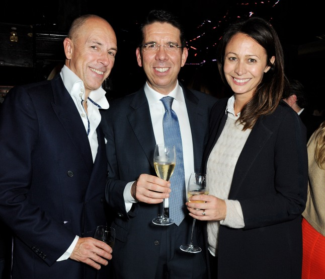 LONDON, ENGLAND - OCTOBER 02: (L to R) Dylan Jones, Vertu CEO Massimiliano Pogliani and Caroline Rush attend the Vertu launch of the new Constellation smartphone at One Mayfair on October 2, 2013 in London, England. (Photo by David M. Benett/Getty Images for Vertu)