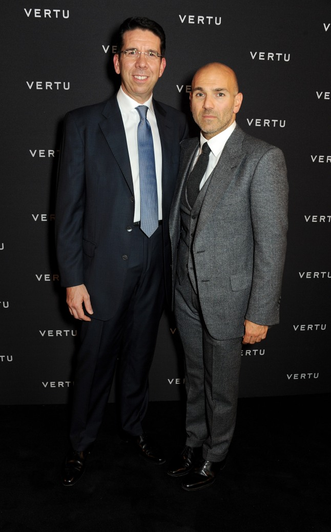 LONDON, ENGLAND - OCTOBER 02: Vertu CEO Massimiliano Pogliani (L) and Jason Basmajian attend the Vertu launch of the new Constellation smartphone at One Mayfair on October 2, 2013 in London, England. (Photo by David M. Benett/Getty Images for Vertu)