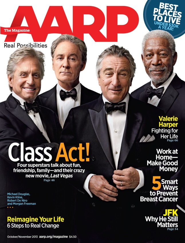 Robert DeNiro, Michael Douglas, Morgan Freeman, and Kevin Kline on the cover of the October/November issue of the AARP The Magazine.  (PRNewsFoto/AARP)