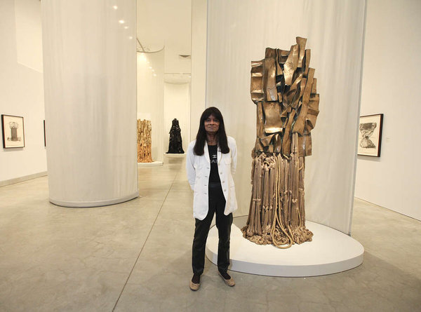 Barbara Chase- Riboud, 74, with her work 'Malcolm X #3,' 1969
