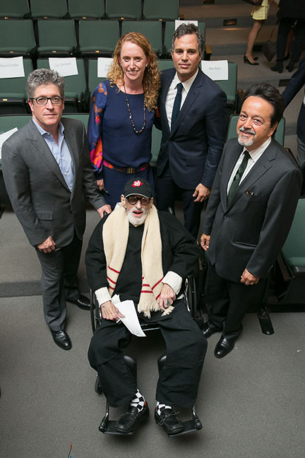 PEN President Peter Godwin, Executive Director of PEN Suzanne Nossel, Mark Ruffalo, Len Amato, and Larry Kramer. Photo courtesy of Patrick McMullan.  (PRNewsFoto/PEN American Center, Inc)