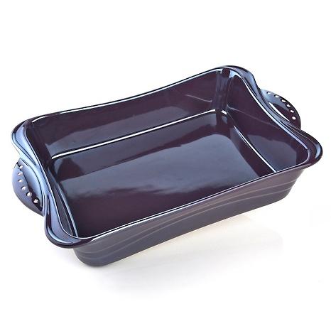 Donatella Arpaia Pearlessence 17-inch Rectangular 5-Quart Stoneware Baker - Purple