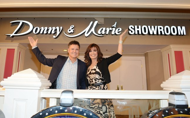 Donny and Marie Osmond unveil the signage for the newly-renamed Donny & Marie Showroom at Flamingo Las Vegas