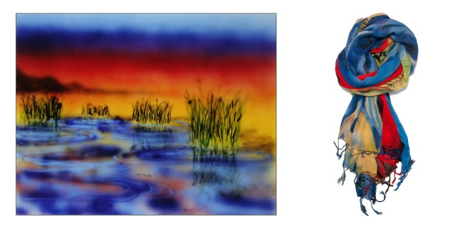 Wetlands I, painted by Jerry Garcia of The Grateful Dead, inspired this Garcia Artwear Wetlands I scarf. The full Garcia Artwear fashion collection captures the essence of Jerry Garcia's popular watercolor and airbrush paintings.  (PRNewsFoto/Garcia Artwear)