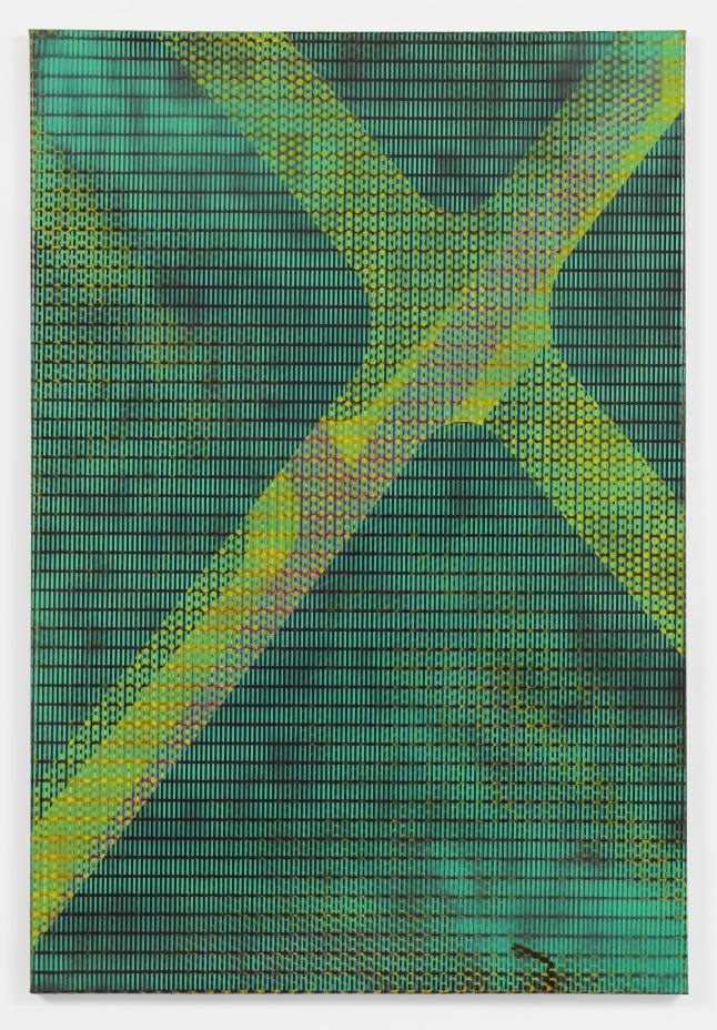 Isa Genzken MLR, 1992 Alkyd resin spray paint on canvas 48 1/16 x 32 5/16″ (122 x 82 cm) Lonti Ebers, New York Courtesy the artist and Galerie Buchholz, Cologne/Berlin © Isa Genzken