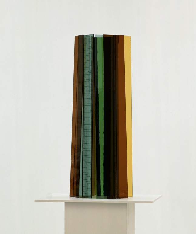 Isa Genzken New Buildings for Berlin, 2004 Glass and silicone on wood pedestal, four parts Each: 86 5/8 x 23 5/8 x 17 11/16″ (220 x 60 x 45 cm) Overall: 86 5/8 x 23 5/8 x 70 3/4″ (220 x 60 x 179.7 cm) Kravis Collection Courtesy David Zwirner Gallery, New York/London © Isa Genzken
